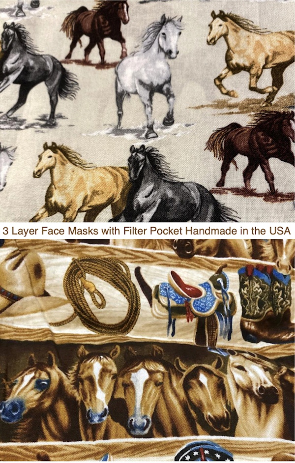 3 Layer Handmade Horse Print Face Masks with Filter Pocket