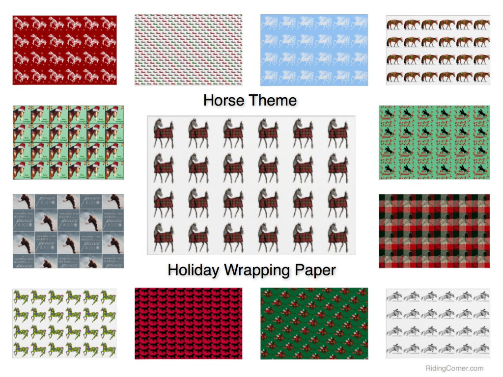 Horse Theme Holiday Gift Wrapping Paper, Equestrian, Hunter Jumper, Western Riding, Christmas wrapping paper