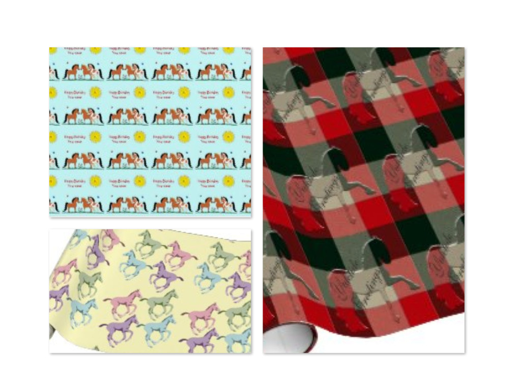 Horse Theme Holiday Gift Wrapping Paper | Christmas Presents ...