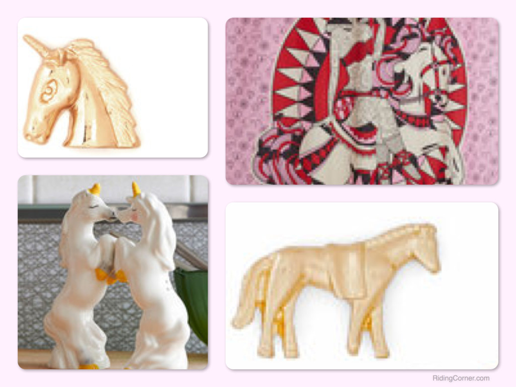 Horse & Unicorn Theme Earrings, Shower Curtain & Salt and Pepper Shakers, Horse Theme Vintage Style Clothes