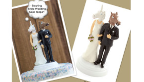 Blushing Bridle Horse & Unicorn Wedding Cake Topper