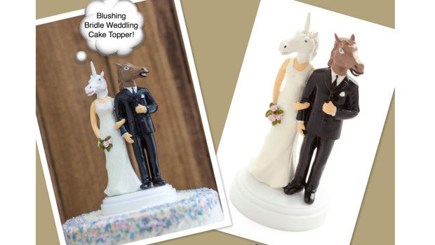 Blushing Bridle Horse Unicorn Wedding Cake Topper