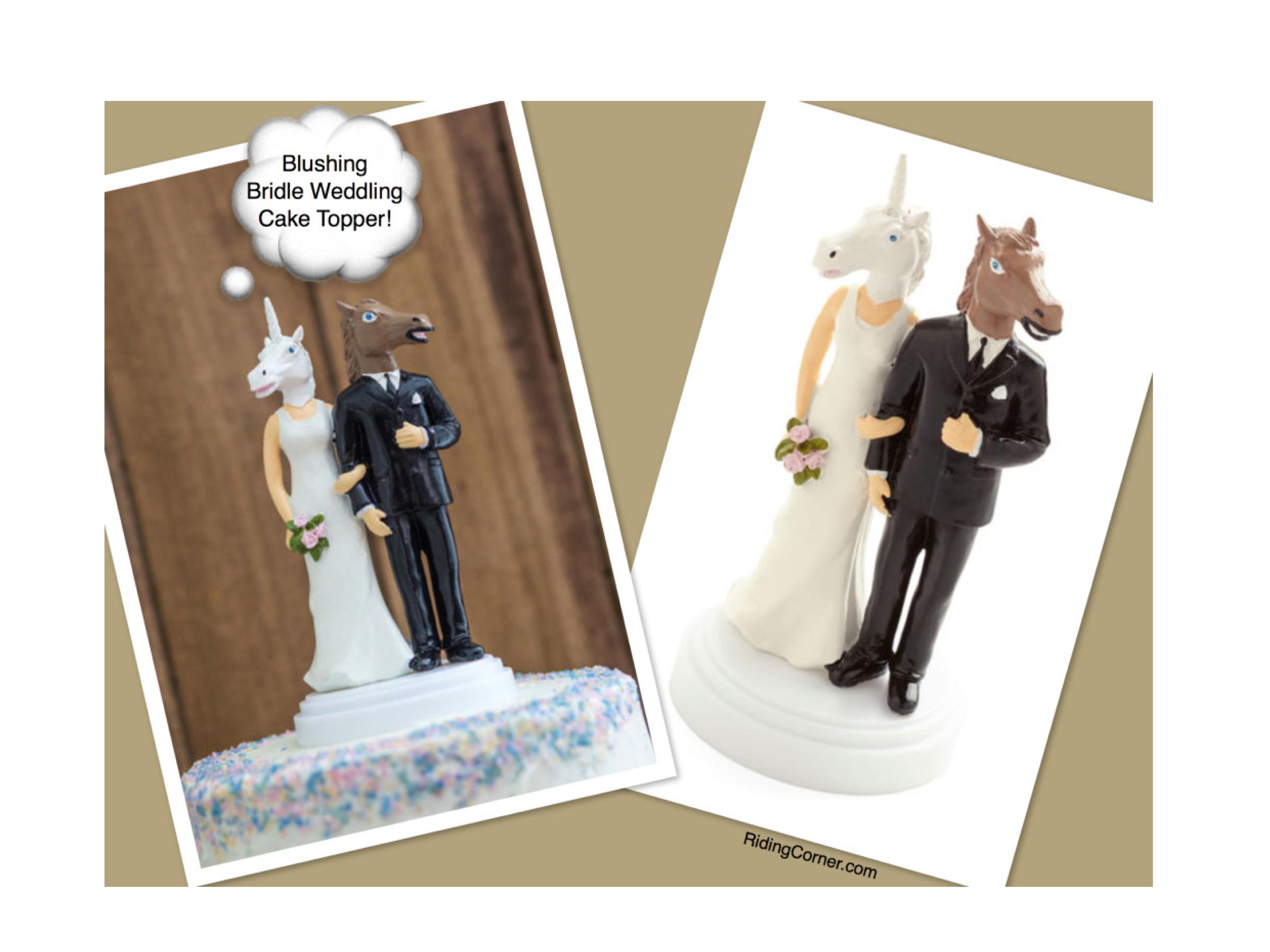 Blushing Bridle Horse & Unicorn Wedding Cake Topper