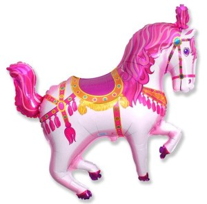 1 BALLOON new 35 XXL PINK CAROUSEL HORSE shape PARTY FAVORS foil MYLAR