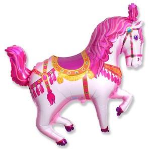 1 BALLOON new 35 XXL PINK CAROUSEL HORSE shape PARTY FAVORS foil MYLAR