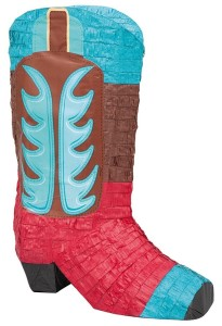 Blue and Red Cowboy Boot Pinata