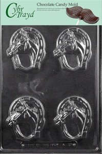Cybrtrayd A131 Horseshoe with Horse Chocolate Candy Mold with Exclusive Cybrtrayd Copyrighted Chocolate Molding Instructions