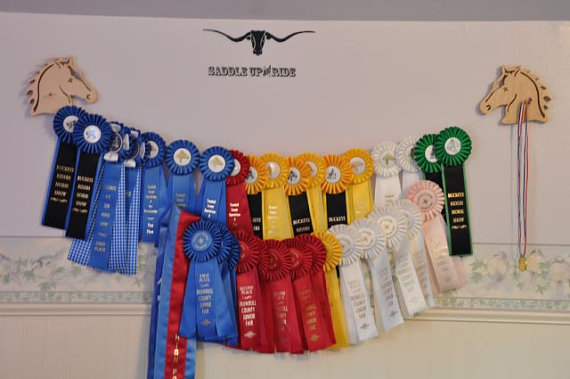English Jumping Horse Show Ribbon Display Wood Wall Hanging