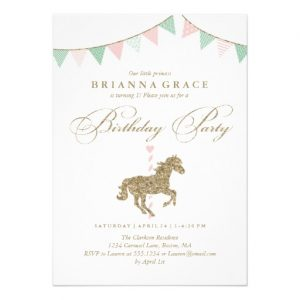 Glitter Carousel Horse Birthday Party Invitation