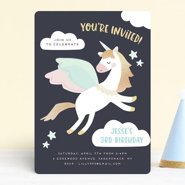 Magical Pegasus Birthday Invitations