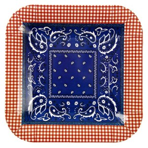 Meri Meri Howdy Cowboy 7.25-Inch Small Square Plates, 12-Pack
