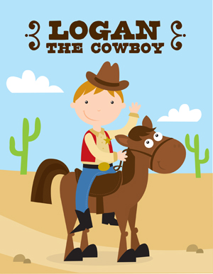 Cowboy Coloring Books, Personalized Children's Horse Gifts
