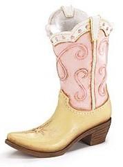 Pink Ladies Cowboy Cowgirl Boot Vase