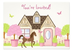 Pretty Garden Horse Birthday Party Invitations