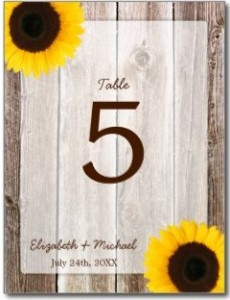 Sunflower Rustic Barn Wood Wedding Table Number Postcards