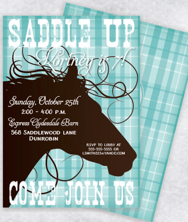 Saddle Up Horse Birthday Party Invitation
