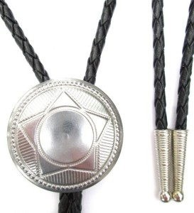 Western Bolo Tie with Classic Star 1 1:2in Concho Ornament, Nickel Finish