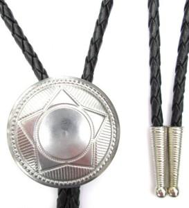 Western Bolo Tie with Classic Star 1 1:2in Concho Ornament, Nickel Finish
