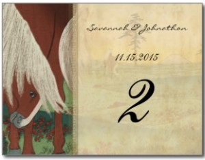 Whimsical Horse Wedding Table Number Cards Postcards
