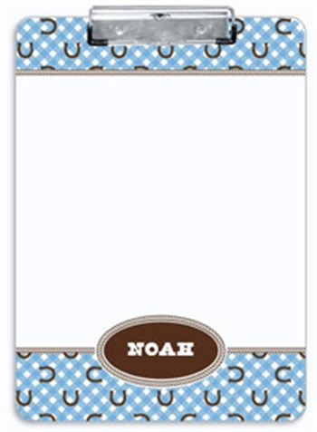 Blue Horseshoe Clipboard, Personalized Children's Horse Gifts