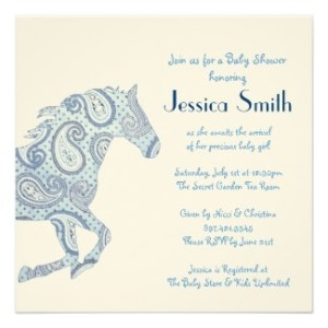 Pony Horse Party Invitations And Stamps Baby Shower Invitations