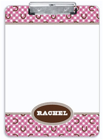 Pink Horseshoe Clipboard, Personalized Children's Horse Gifts