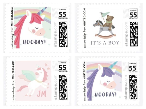 unicorn and carousel horse stamps
