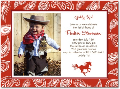 Wild Bandana Birthday Party Invitations