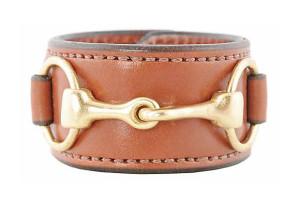 Brass Bit & Leather Cuff, Equestrian Chic Sale