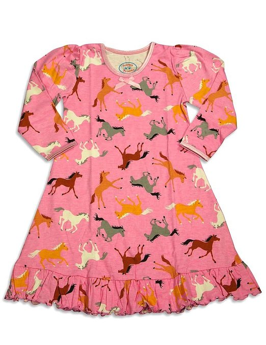Little Girls Long Sleeve HOrse Nightgown