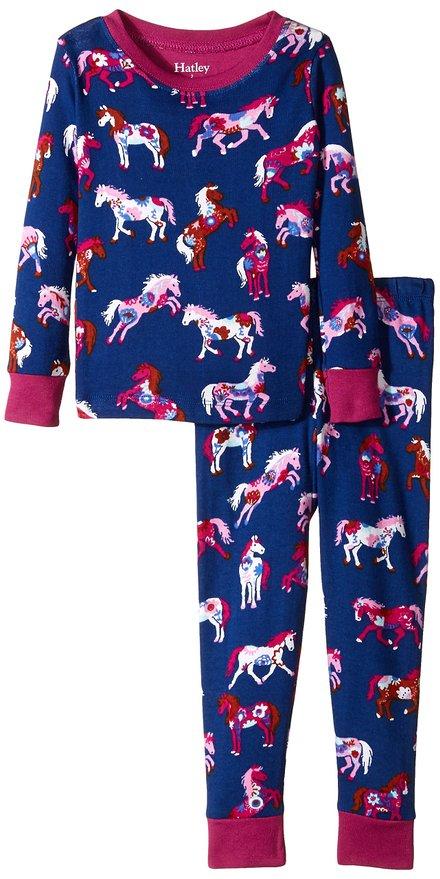 Hatley Little Girls Pajama Set Overall Flower Horses
