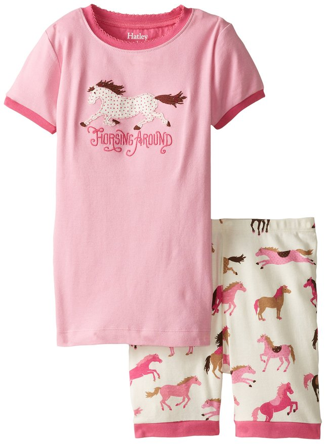 Hatley Little Girls Short Hearts and Horses Pajama Set
