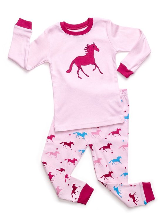 Leveret Little Girls Horse 2 Piece Pajama
