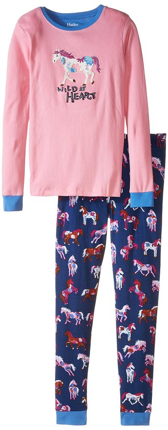 Little Girls Pajama Set Applique Flower Horses