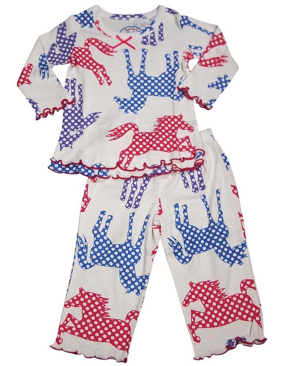 Sara's Prints - Little Girls Long Sleeve Pajamas