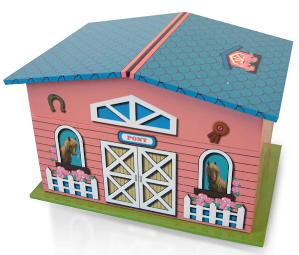 Pink and Blue Pony Farmhouse with Spinning Pony Music Jewelry Box