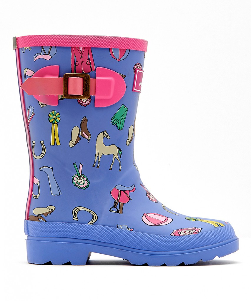 Kids Lavender Horse Junior Welly Rain Boot, horse print welly rain boots