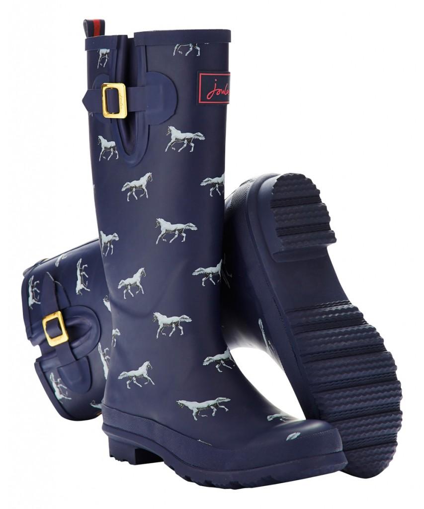 Womens Navy Horse Welly Rain Boot, horse print welly rain boots