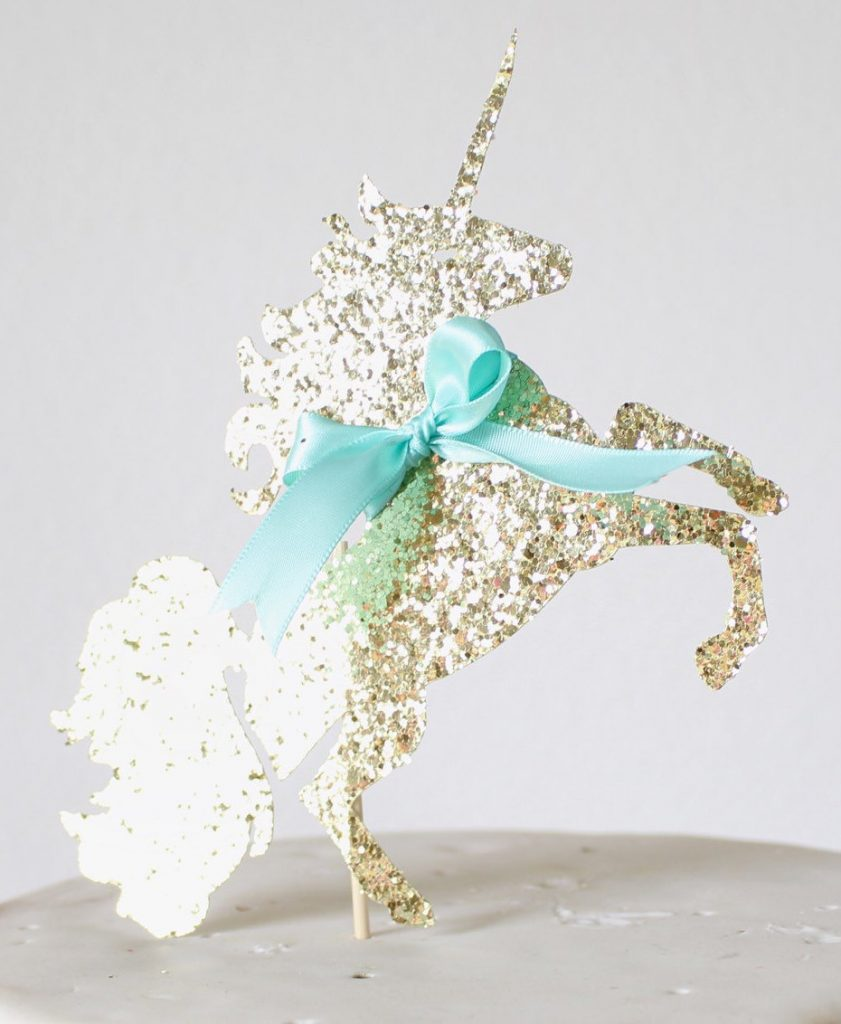 Gold Gltter and Turqoise Bow Unicorn Cake Topper
