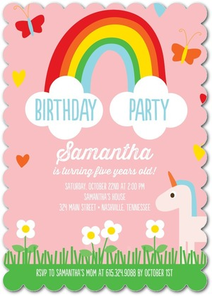 Meadow Rainbow Unicorn Party Invitation