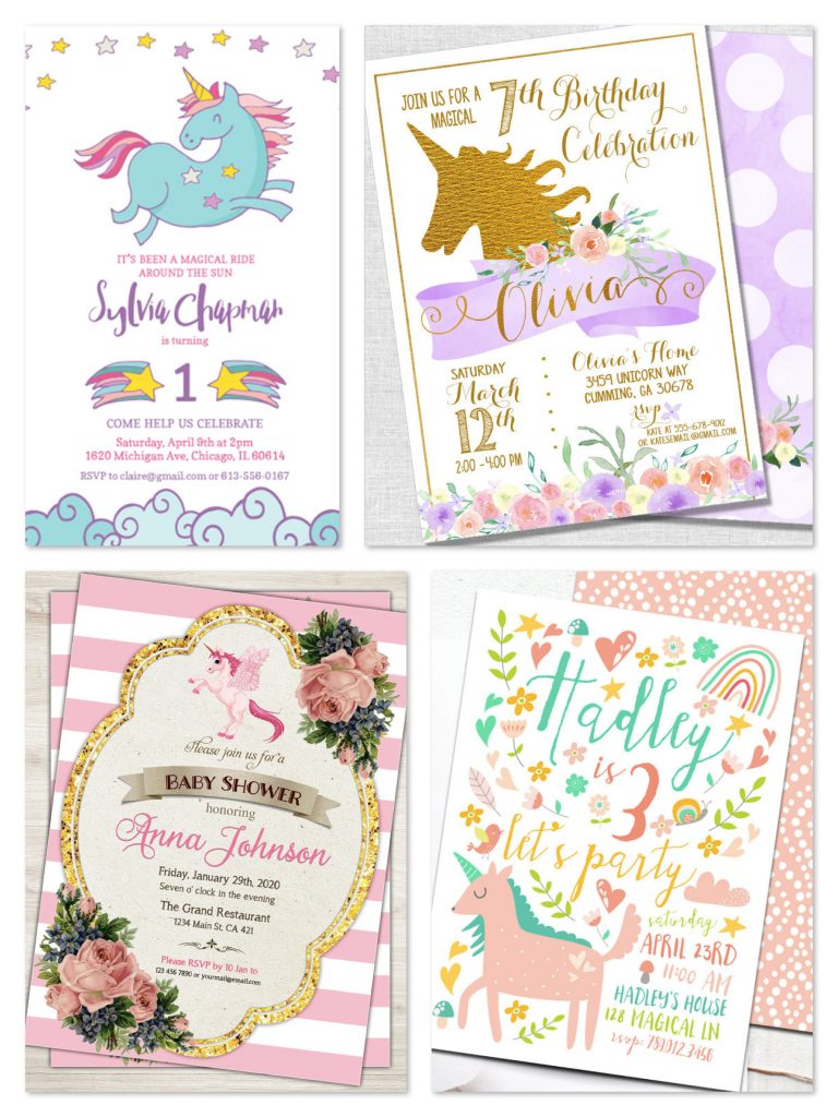 Printable Unicorn Party Invitations