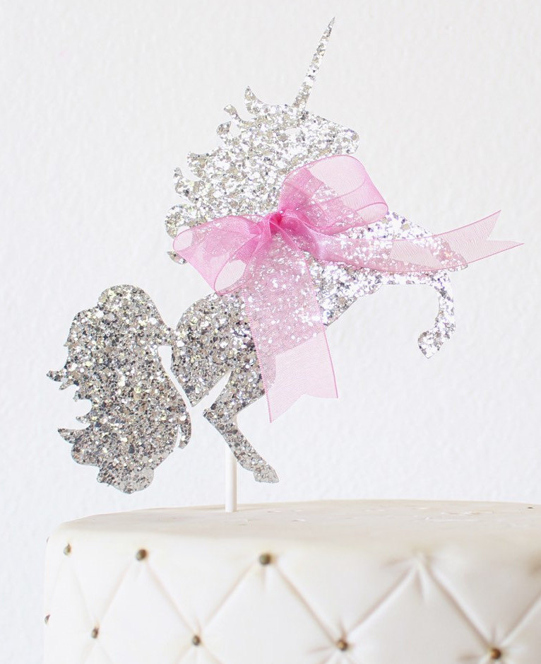 Silver Glitter and Pink Bow Unicorn Cake Topper