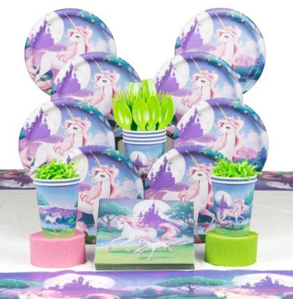 Unicorn Fantasy Birthday Party Deluxe Tableware Kit