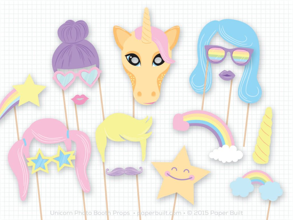 Unicorn Party Printable Photo Booth Props