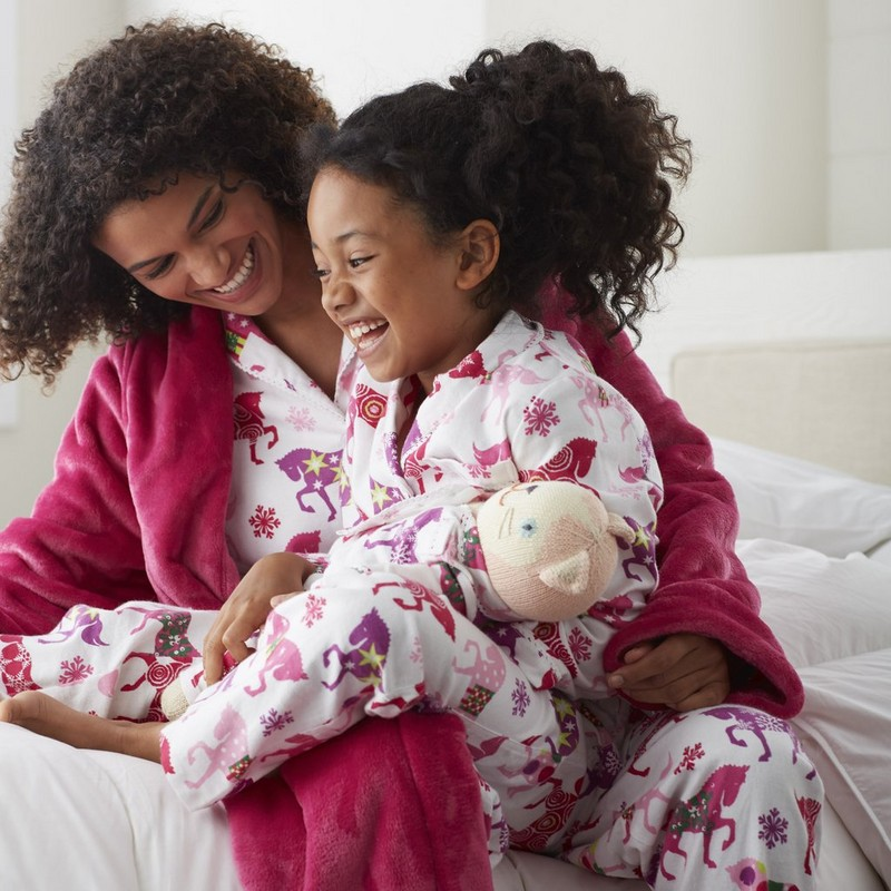 Mother Daughter and Doll Matching Carousel Pajamas