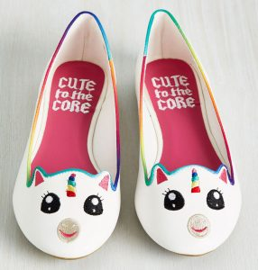 white-unicorn-flat-shoes