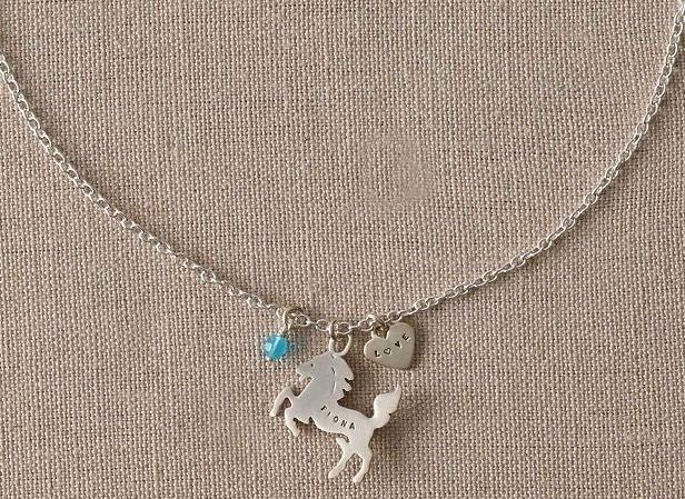 Girls Personalized Birthstone Horse Necklace