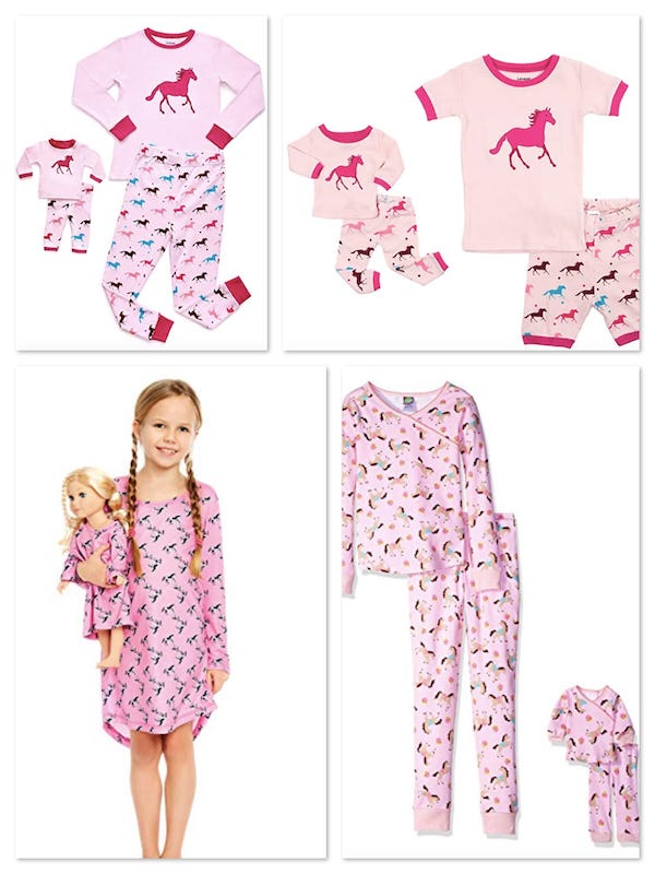 Girls Horse Pajamas and Matching Doll Pajamas