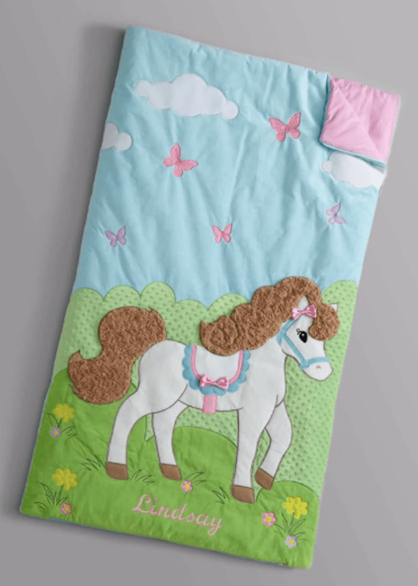 personalized prancing pony sleeping bag