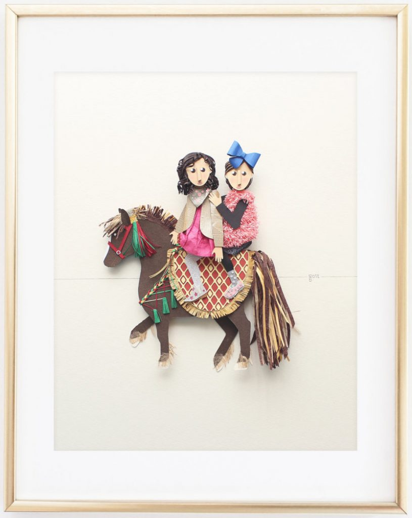 Paper Portrait of Girls on a Horse